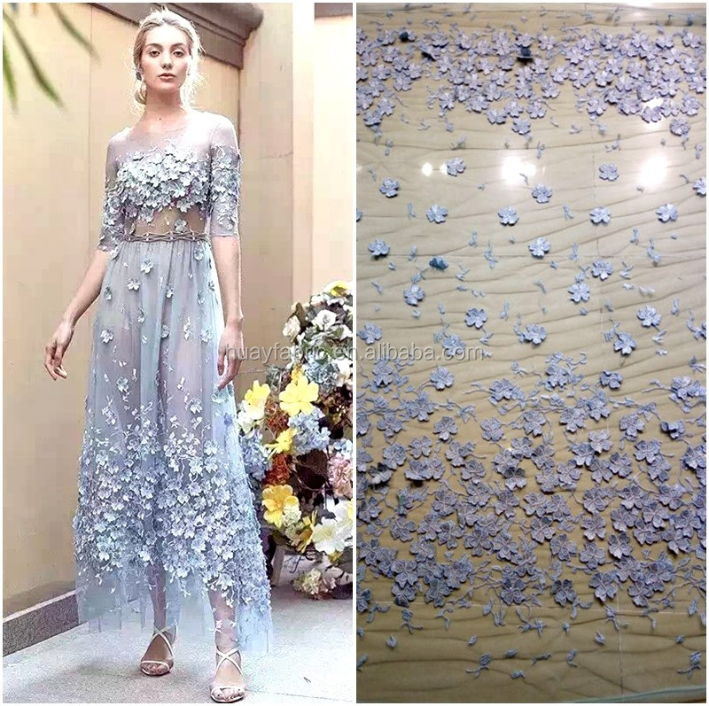Hot Blue 3D florals embroidery tulle french lace fabric for fashion lace dress HY0417