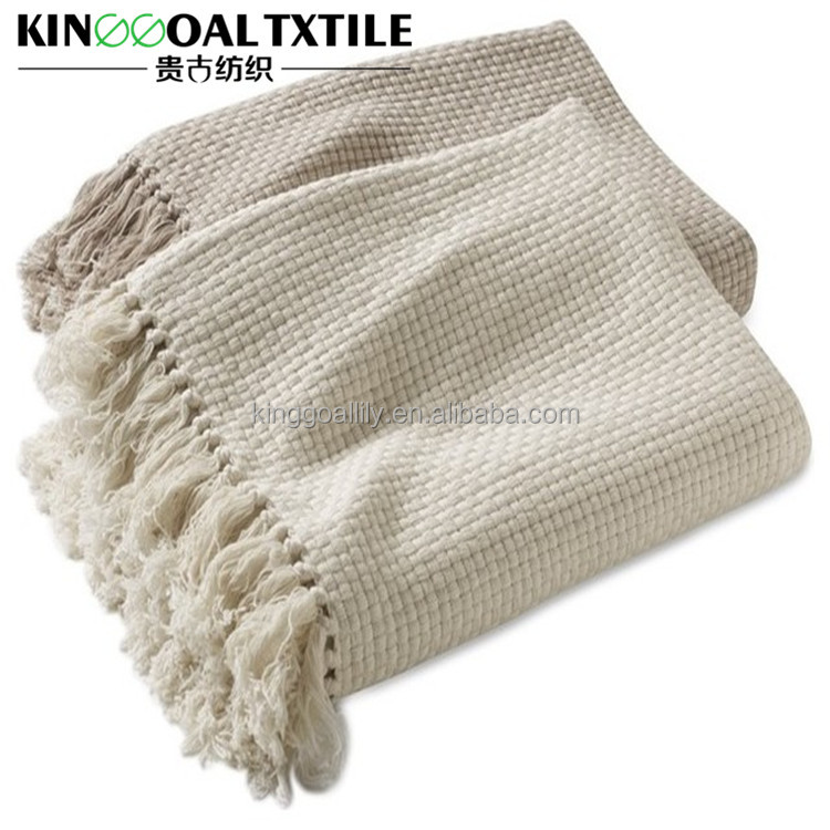 OEM Accpeted 100% cotton Women Throws with 10cm tassel on tow sides