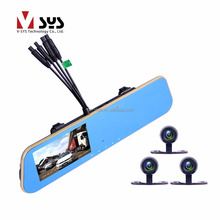 Rearview mirror car video record taxi black box with 4CH cameras and wireless controller