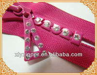 Brand New promoted high quality rhinestone zippers, No.8 close end rhinestone zipper