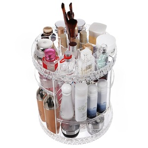 Beauty Makeup Organizer 360-Degree Cosmetic Case Box Rotating Adjustable Shelves Large Countertop Cosmetic Storage