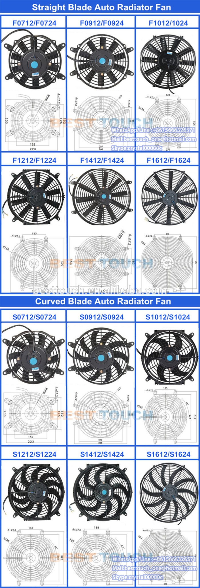 "Straight fan blade /Curved fan blades 12V 7"" 9"" 10"" 12"" 14""16""/80W/120W cooling electric dual radiator fans"