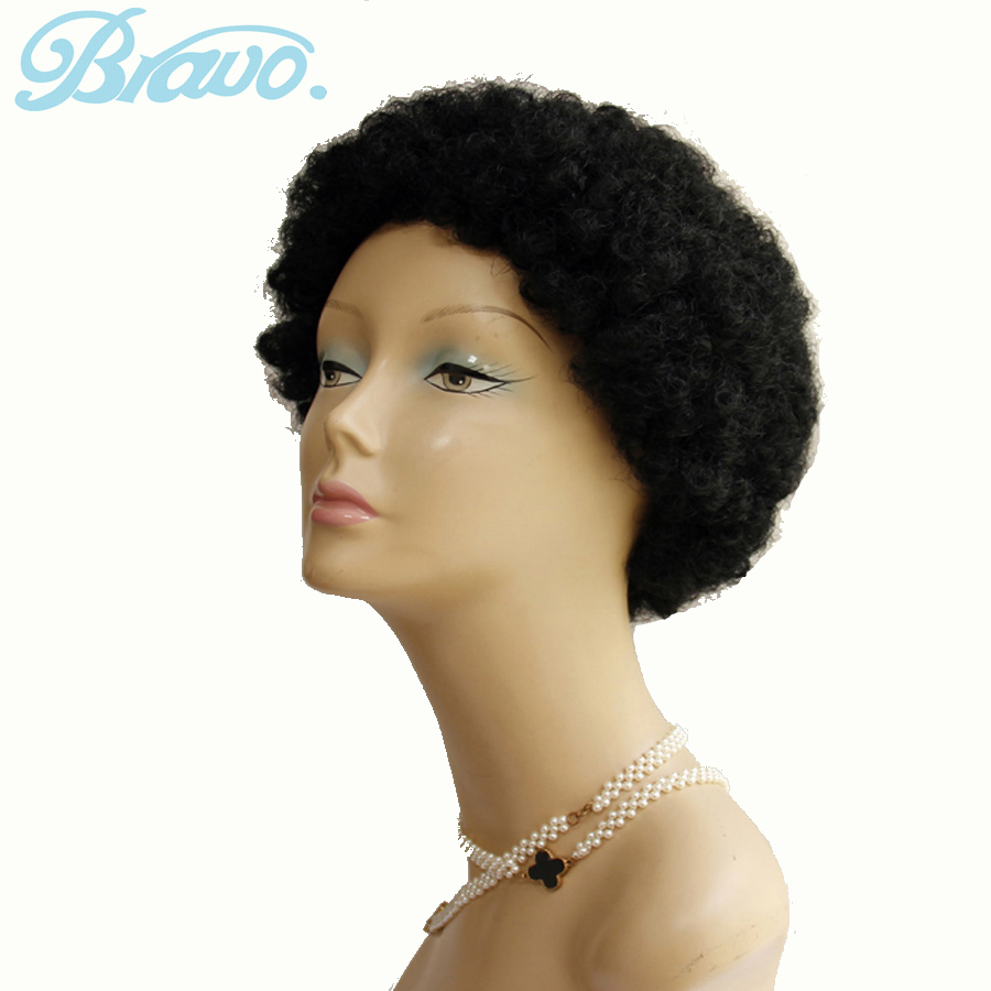Synthetic Hair Cosplay Wigs Black Afro Kinky Curly Wigs Synthetic Afro Wig Fashion Drawstrig Short Curly Wig for Black Women