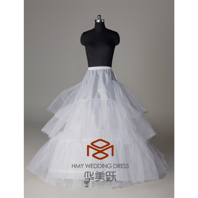 HMY-PPT005 Nylon Chapel Train Ball Gown 3 Tier Floor Length Slip Style Wholesale Petticoats For Women Dresses