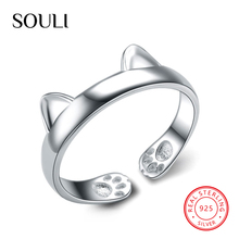 Adjustable Accessories Rings 925 Sterling Silver Lady Rings Cute Cat Animals Open Ring