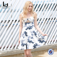 New Summer High Quality Unique Sexy Sling Sleeveless Printed Women Evening Party Dress
