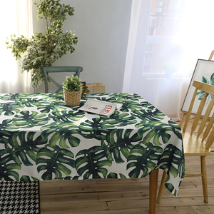 Superior Quality Waterproof Green Leaves Printed Table Cloth 100% Polyester