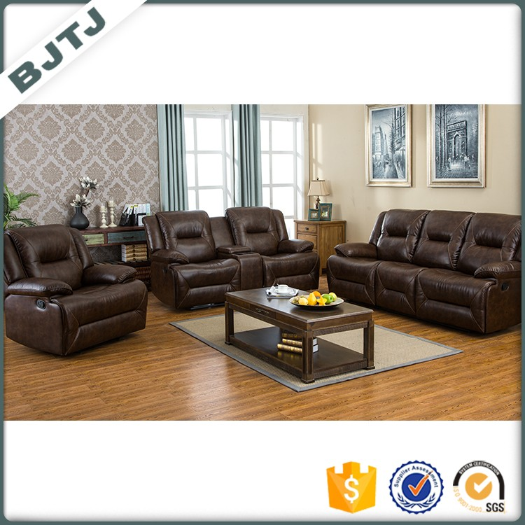 BJTJ alibaba simple sectional brown leather recliner sofa designs set 70636