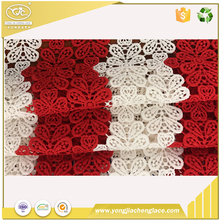 YJC1043FC Graceful White Red Floral Venice Lace Fabric Crocheted Hollowed Out Fabric For Wedding Dress
