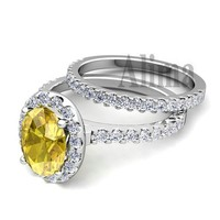 Y00500 semi mount halo wedding ring 18K white gold engagement ring certified 0.05ct real diamond pave citrine yellow stone