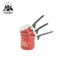 High quality red color enamel coffee jug coffee warmer with long handle