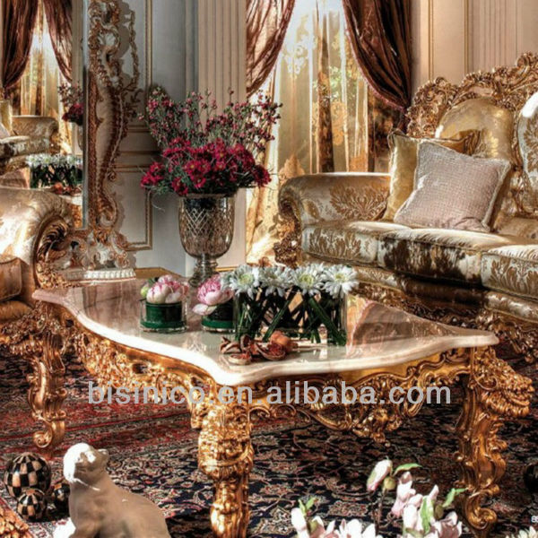 Luxury gold wooden hand carving living room sofa set