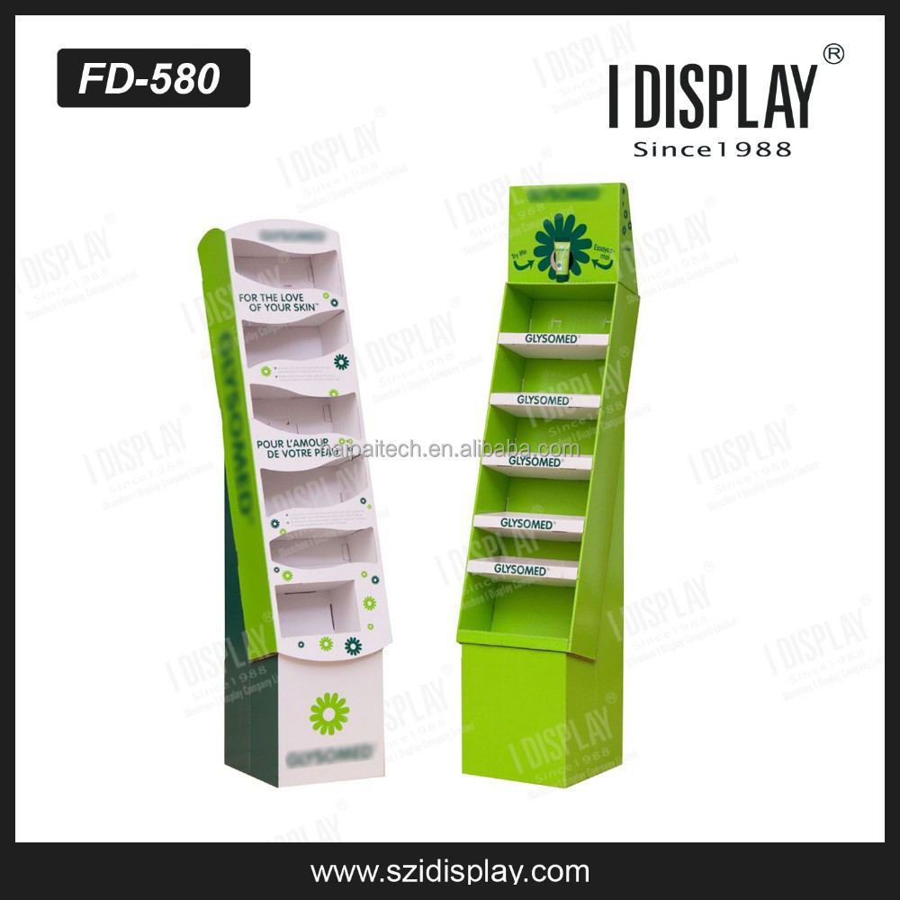 free standing floor cardboard cosmetic display unit for skin care products retail