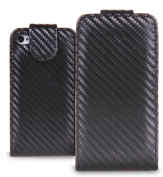 Accessories Carbon fiber Cell Phone Flip Case Protective Cover For Apple iPhone 4 4S