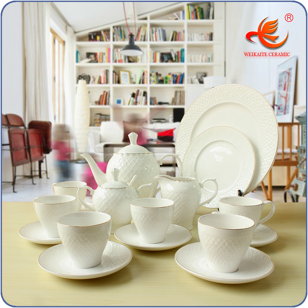 Best quality porcelain tea set with silver flower for sell