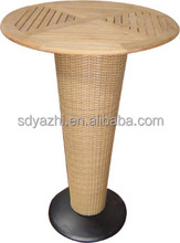 wood outdoor table in teak wood table top and round table base but it is so expensive item