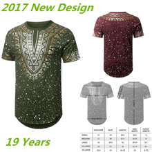 TS171021 Mens Gold Foil Paint Splatter T-Shirt, African Dashiki Graphic Top Shirts