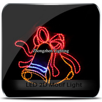 2d commercial holiday time christmas event decoration double bell motif rope light