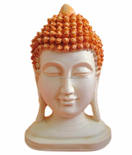 Hand crafted painted light beige fiberglass Thai buddha head statue
