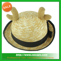 Cute design wheat straw Custom deer horn hat for kids