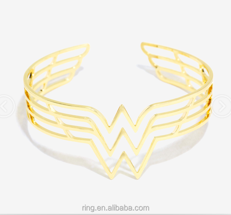 DC Comics Wonder Woman Hollow Cuff Bracelet Bangles Gold Plated