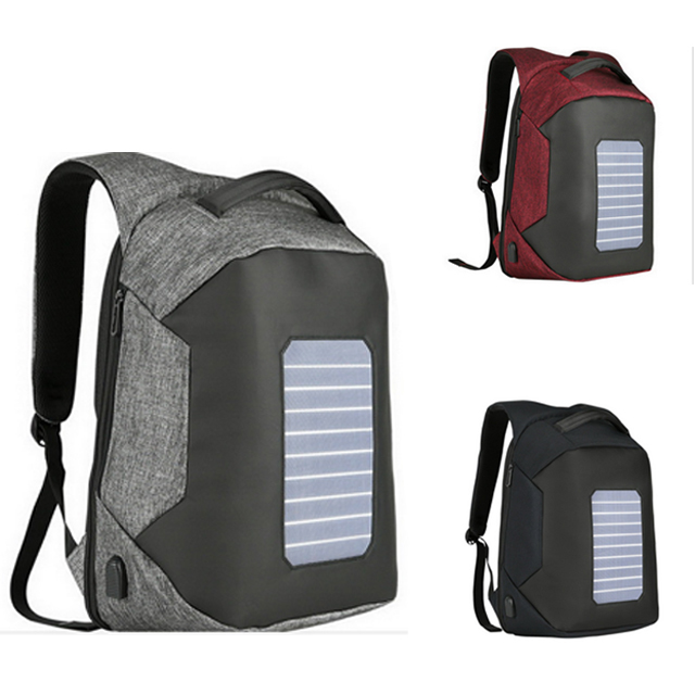 2018 newest 16 Inch waterproof solar panel power backpack with anti-theft zipper