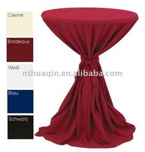 100%polyester jersey stretch cocktail bistro table cover with belt festival and party polyester jersey table linens