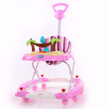 2016 factory directly wholesale plastic baby rocker walkers with push handle