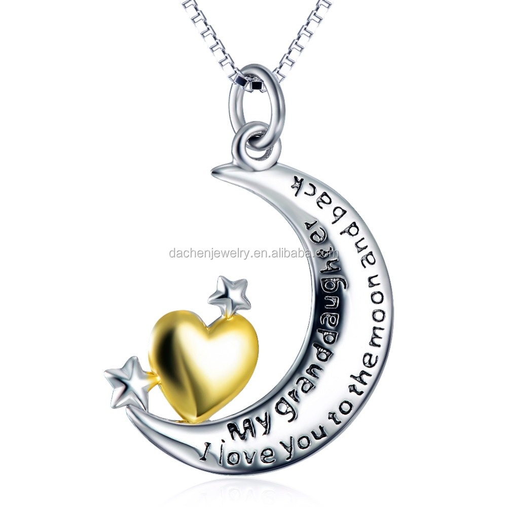 necklaces women 2017 Jewelry 925 Sterling Silver moon And Golden Heart Pendant Necklace With Message