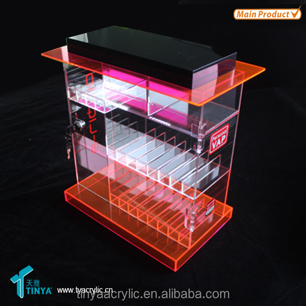 2016 Tinya Shop E cig display Wholesale Acrylic Electronic Cigarette Counter Display case