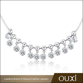 OUXI Fashion Hand-Glued Jewelry Dangle More Cubic Zirconia Bead Necklace Set AAA Zircon Riodium Plated Necklace