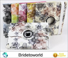 Smart Cover Magnetic For iPad 2 3 4 And 360 Rotating Flowers PU Leather Cover Case For ipad air