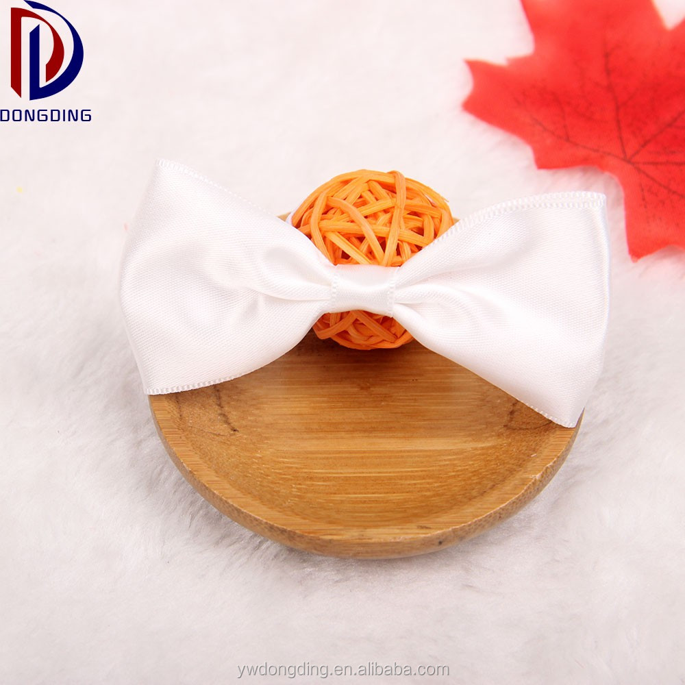 Hand craft men's bow tie white ribbon bow with elastic loop