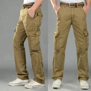 Cotton casual mens cargo pants with side pockets