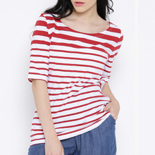 Women White and Red Striped Regular Wholesale Scoop Neck T Shirt
