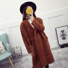Overcoat Latest New Style Sweater Imitation Mink Velvet Long Style Polo Collar Knit Cardigan Overcoat