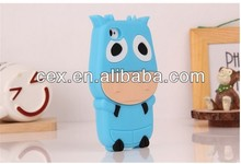 Wholesale - fashion cute lovely 3D cow design silicon gel back case cover skin shell for iPhone 4 4S cow case