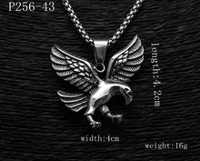 Mens Punk Spread Black Silver Stainless Retro style Ride to Live Eagle Pendant