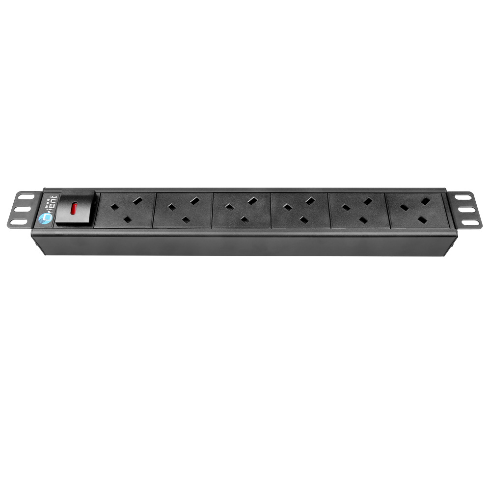 low price 6 port 19 inch UK 45 degree rack PDU socket