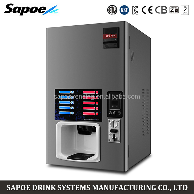 Sapoe automatic 5 hot and 5 chill drinks coffee coin counting vending machine with cup dispenser