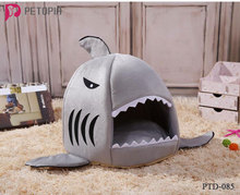 Soft Cartoon Shark Dog Cat Pet Bed Washable Dog House Pet Sleeping Bed With Removable Cushion