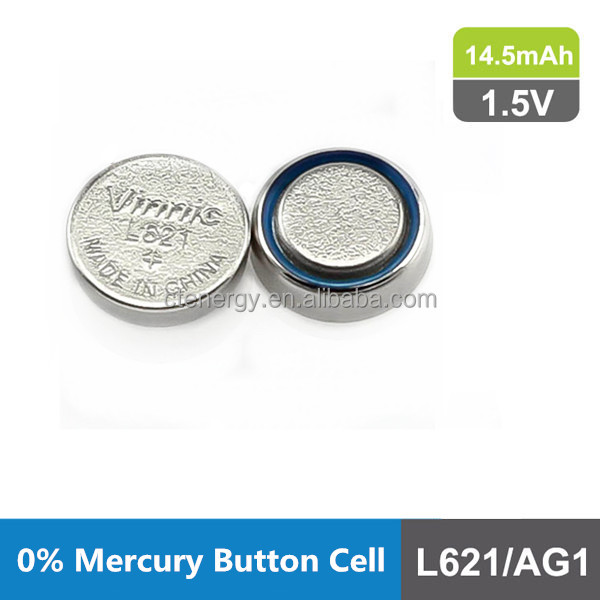 Alkaline manganese dioxide button cell no mercury 1.5V for whatches