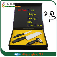 Real factory fashion strong luxury package custom cardboard knife box with insertion