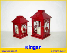 Square Christmas Candle Lanterns Deer Cut Pillar Holder with LED candle