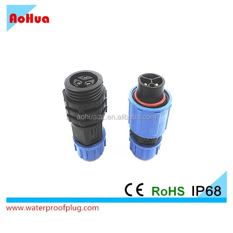 3pin Nylon Assembly Soldering coupling Power waterproof IP68 plug
