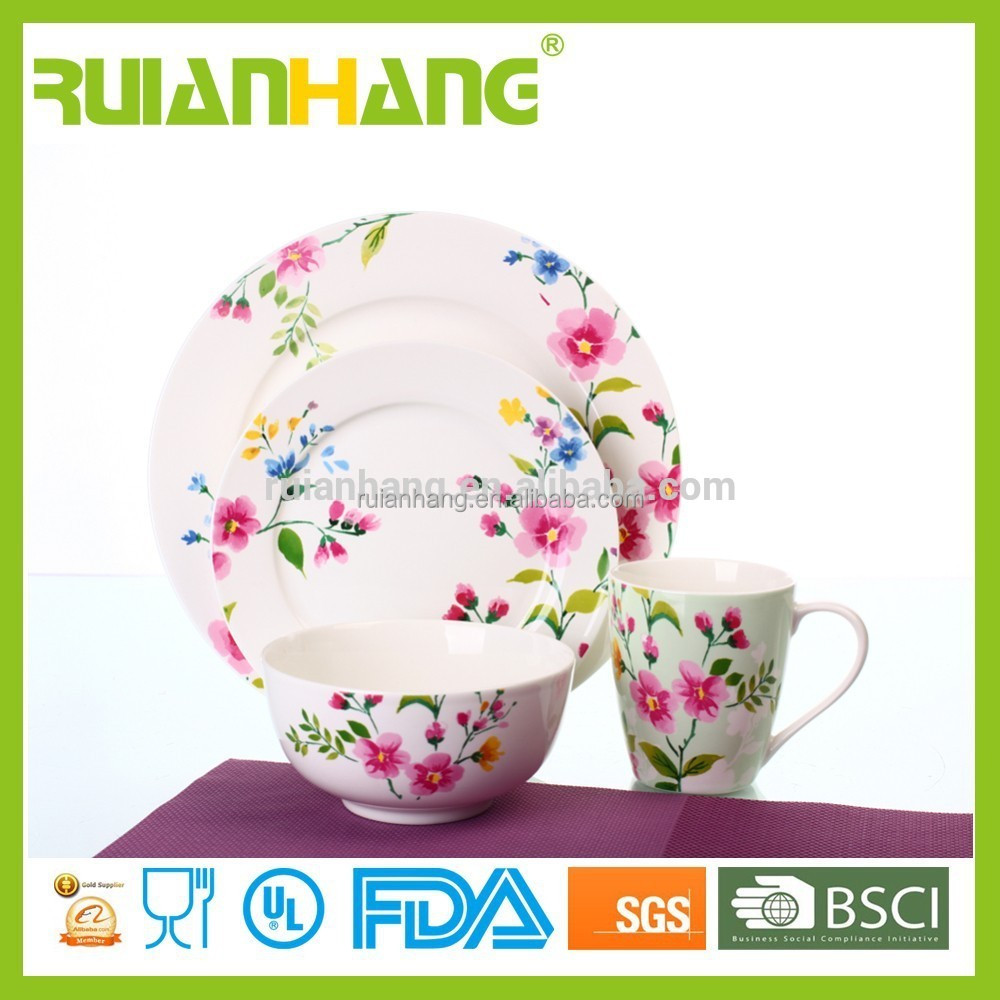 Newest wholesale porcelain ceramic dinnerware set of 16 pcs for hotel
