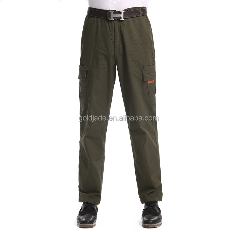 Summer Army green Mens Work Pants loose breathable Cotton Workwear Trousers cargo pants