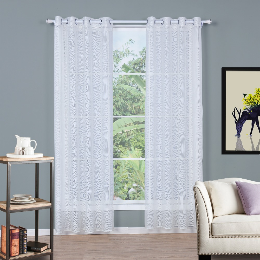 BBJ Burnt-out Window Screening Curtains White Perspective Modern Curtains