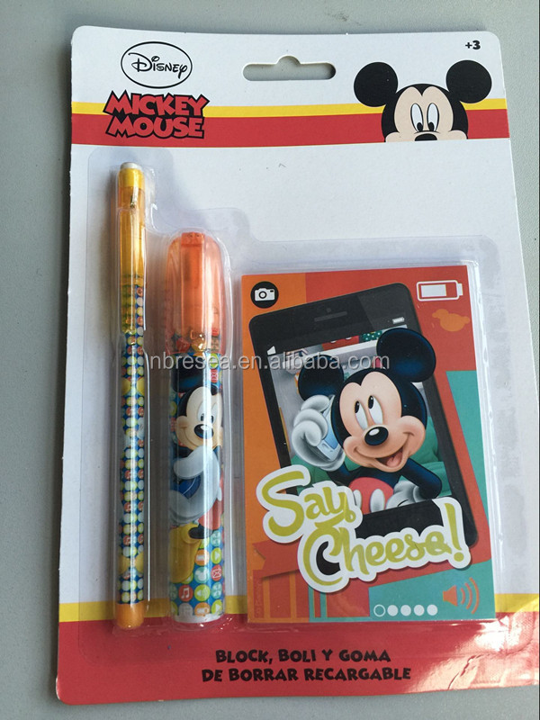 recharge eraser with multi-point pencil with notebook MICKEY