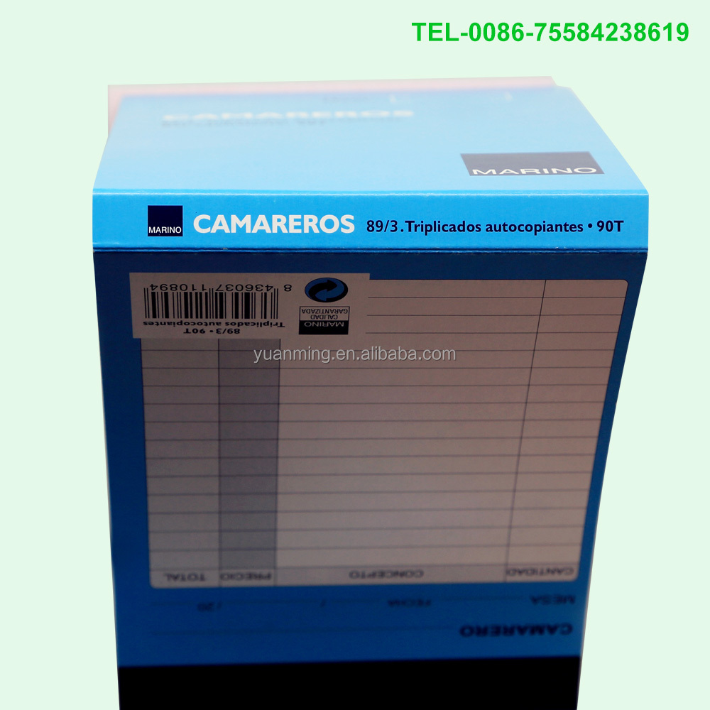 Hot selling triplicados order pad 3 parts receipt copy book for camareros with digit number and cover and back cover shared one